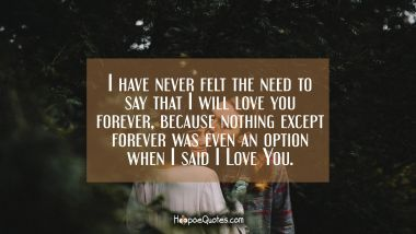 I have never felt the need to say that I will love you forever, because nothing except forever was even an option when I said I Love You. I Love You Quotes