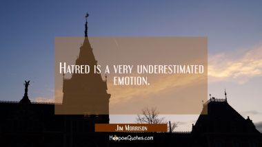 Hatred is a very underestimated emotion.