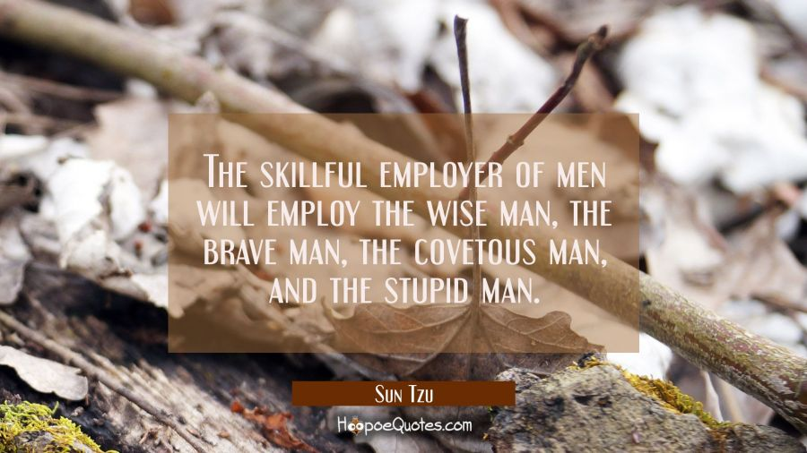 The skilful employer of men will employ the wise man the brave man the covetous man and the stupid Sun Tzu Quotes