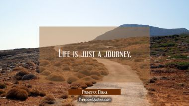 Life is just a journey.
