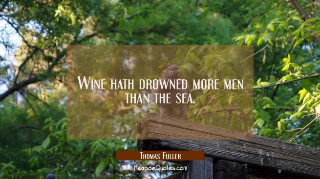 Wine hath drowned more men than the sea.