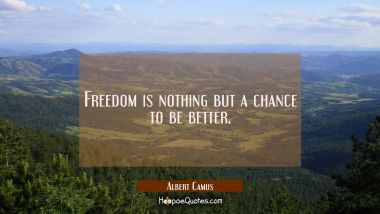 Freedom is nothing but a chance to be better. Albert Camus Quotes