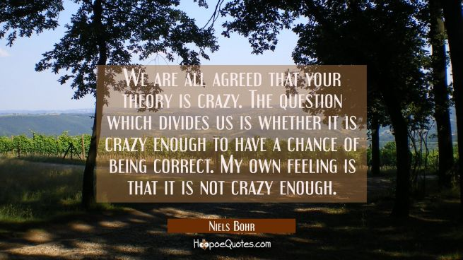 We are all agreed that your theory is crazy. The question which divides us is whether it is crazy e