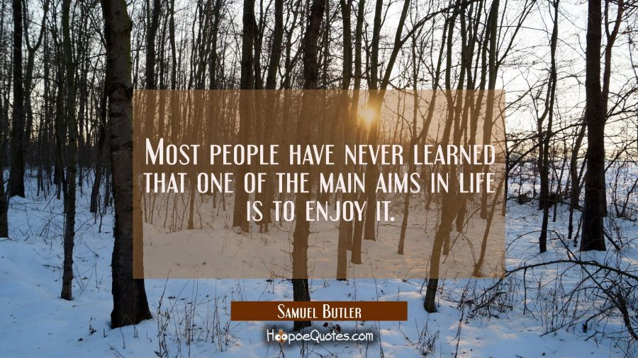 Most people have never learned that one of the main aims in life is to enjoy it. Samuel Butler Quotes