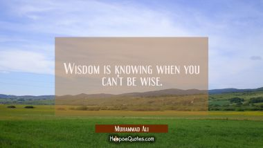 Wisdom is knowing when you can't be wise.