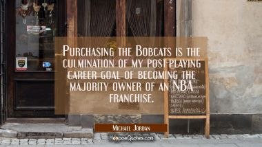Purchasing the Bobcats is the culmination of my post-playing career goal of becoming the majority o