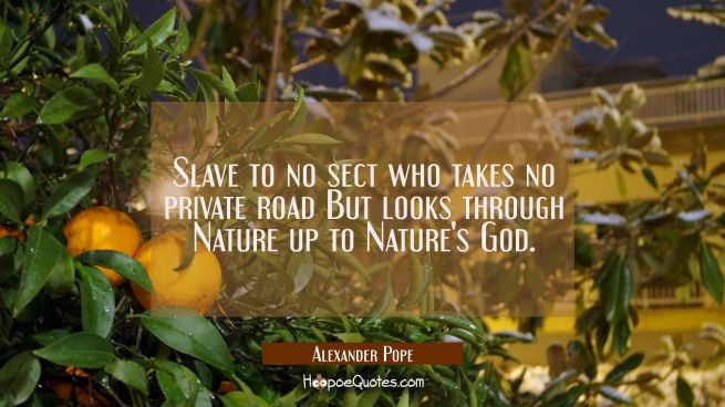 Slave to no sect who takes no private road But looks through Nature up to Nature's God.