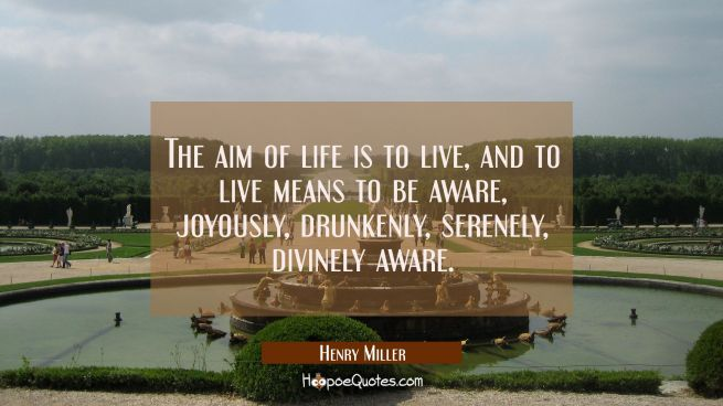 The aim of life is to live and to live means to be aware joyously drunkenly serenely divinely aware
