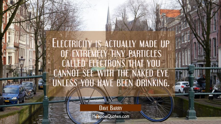 Electricity is actually made up of extremely tiny particles called electrons that you cannot see wi Dave Barry Quotes