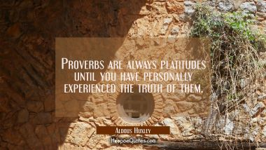 Proverbs are always platitudes until you have personally experienced the truth of them.