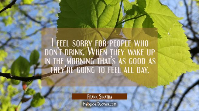 I feel sorry for people who don't drink. When they wake up in the morning that's as good as they're