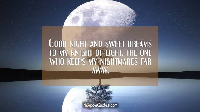 Good night and sweet dreams to my knight of light, the one who keeps my nightmares far away.