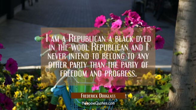 I am a Republican a black dyed in the wool Republican and I never intend to belong to any other par