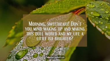 Morning, sweetheart! Don't you mind waking up and making this dull world and my life a little bit brighter? Good Morning Quotes