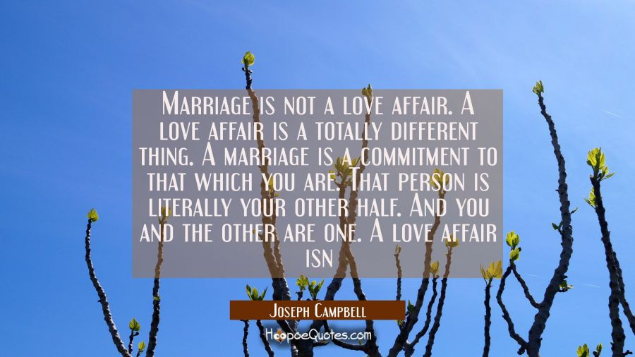 Marriage is not a love affair. A love affair is a totally different thing. A marriage is a commitme Joseph Campbell Quotes