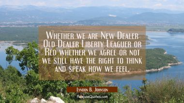 Whether we are New Dealer Old Dealer Liberty Leaguer or Red whether we agree or not we still have t