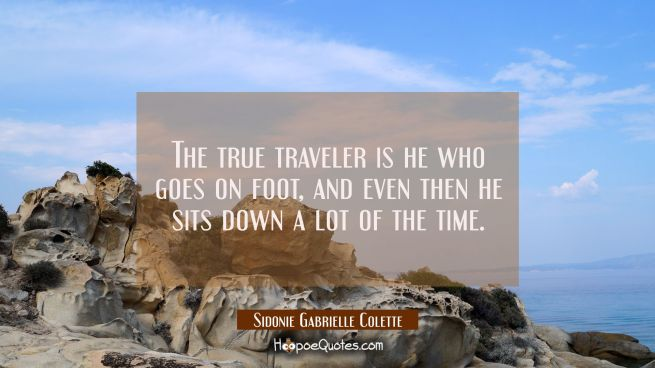 The true traveler is he who goes on foot and even then he sits down a lot of the time.