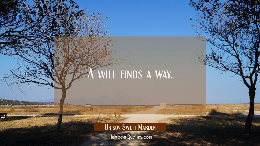 A will finds a way. Orison Swett Marden Quotes