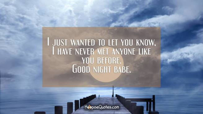 I just wanted to let you know, I have never met anyone like you before. Good night babe.