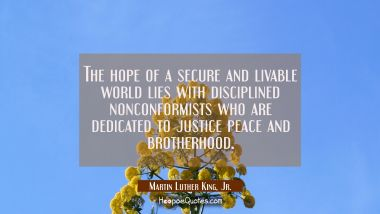 The hope of a secure and livable world lies with disciplined nonconformists who are dedicated to ju