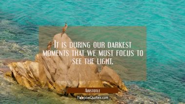 It is during our darkest moments that we must focus to see the light. Aristotle Quotes