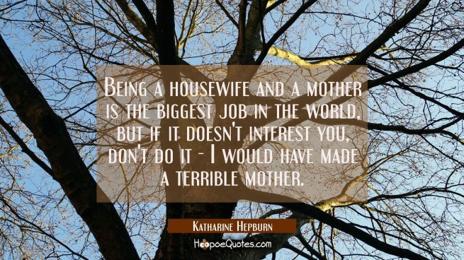 Being a housewife and a mother is the biggest job in the world but if it doesn't interest you don't