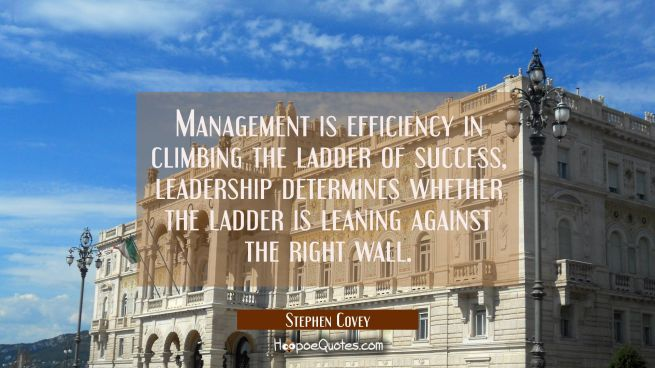 Management is efficiency in climbing the ladder of success, leadership determines whether the ladde