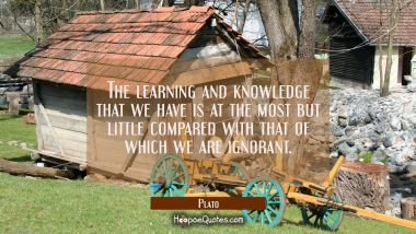 The learning and knowledge that we have is at the most but little compared with that of which we ar