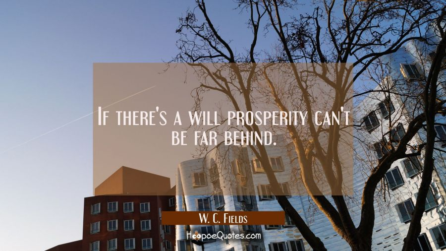 If there's a will prosperity can't be far behind. W. C. Fields Quotes