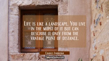 Life is like a landscape. You live in the midst of it but can describe it only from the vantage poi