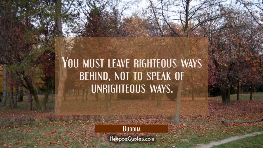 You must leave righteous ways behind not to speak of unrighteous ways. Buddha Quotes