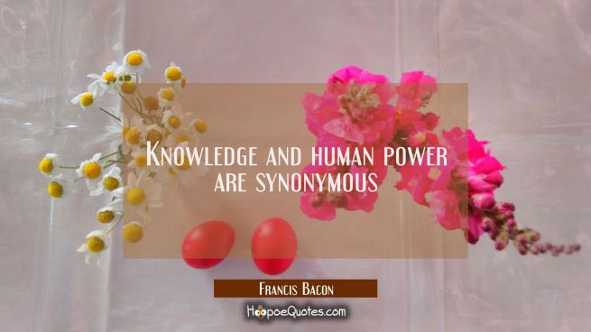 Knowledge and human power are synonymous