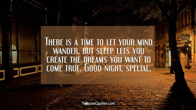 There is a time to let your mind wander, but sleep lets you create the dreams you want to come true. Good night, special.
