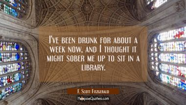 I've been drunk for about a week now and I thought it might sober me up to sit in a library. F. Scott Fitzgerald Quotes