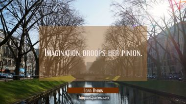 Imagination droops her pinion.