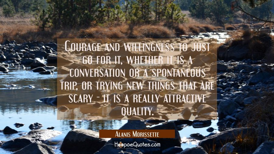 Courage and willingness to just go for it whether it is a conversation or a spontaneous trip or try Alanis Morissette Quotes