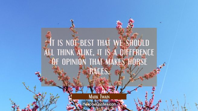 It is not best that we should all think alike, it is a difference of opinion that makes horse races