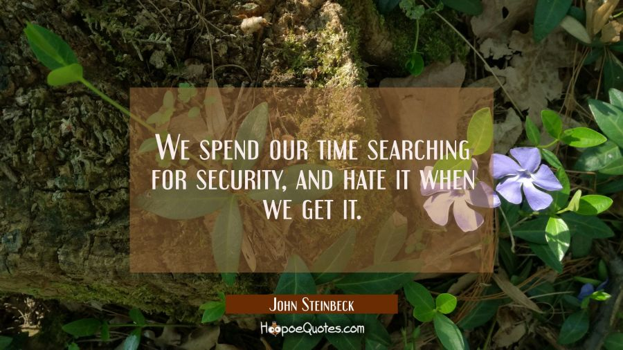 We spend our time searching for security and hate it when we get it. John Steinbeck Quotes