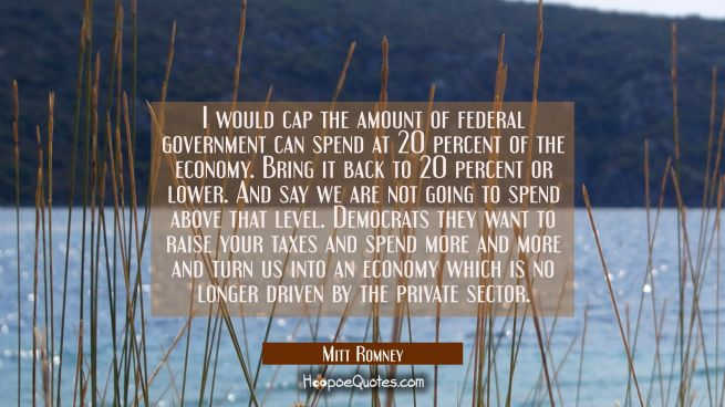 I would cap the amount of federal government can spend at 20 percent of the economy. Bring it back