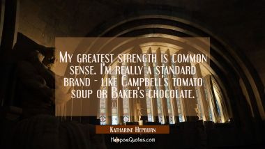 My greatest strength is common sense. I'm really a standard brand - like Campbell's tomato soup or
