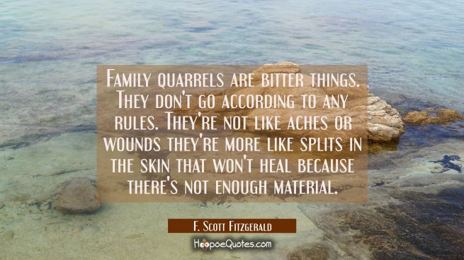 Family quarrels are bitter things. They don't go according to any rules. They're not like aches or