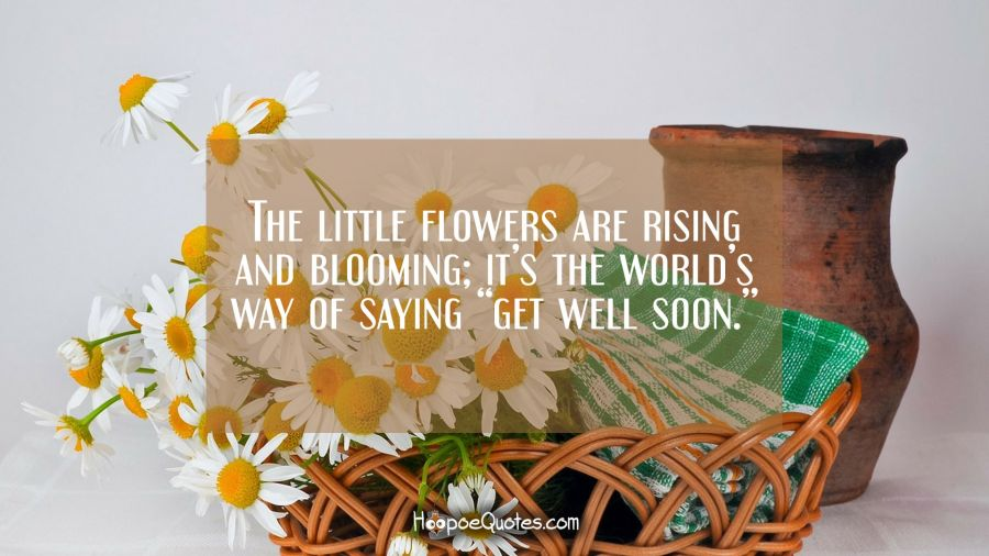 "The little flowers are rising and blooming; it's the world's way of saying ""get well soon."" Get Well Soon Quotes"