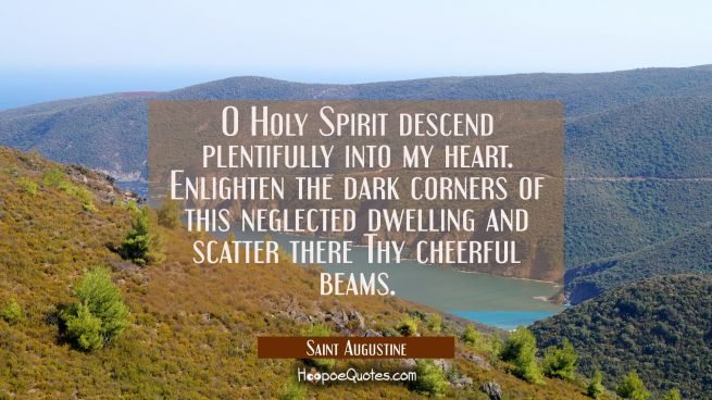 O Holy Spirit descend plentifully into my heart. Enlighten the dark corners of this neglected dwell