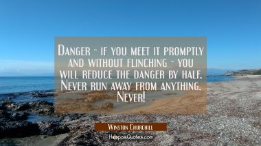 Danger - if you meet it promptly and without flinching - you will reduce the danger by half. Never Winston Churchill Quotes