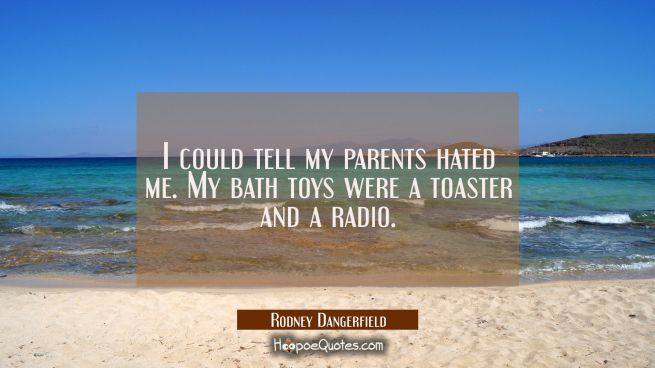 I could tell my parents hated me. My bath toys were a toaster and a radio.
