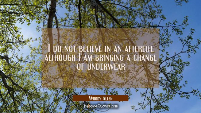 I do not believe in an afterlife although I am bringing a change of underwear