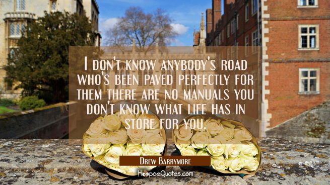 I don't know anybody's road who's been paved perfectly for them there are no manuals you don't know