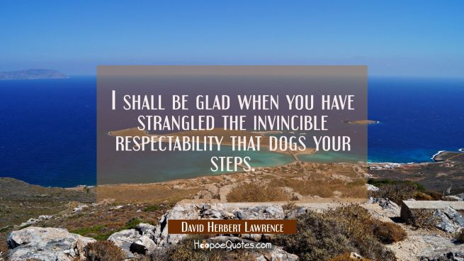 I shall be glad when you have strangled the invincible respectability that dogs your steps.