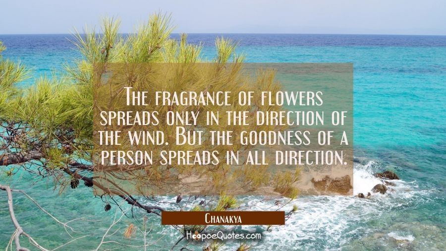 The fragrance of flowers spreads only in the direction of the wind. But the goodness of a person sp Chanakya Quotes