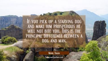 If you pick up a starving dog and make him prosperous he will not bite you. This is the principal difference between a dog and man. Mark Twain Quotes